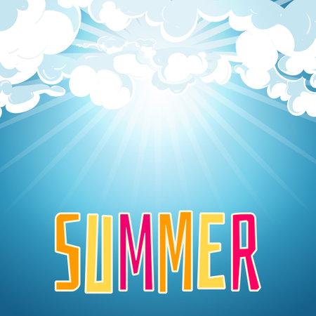 Sunny summer blue sky background Ilustracja