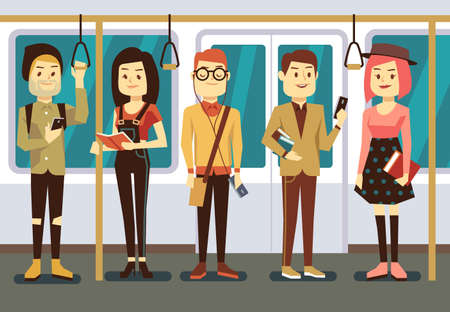 Man and woman with smartphone, gadgets book in public transport vector illustration Vector Illustration