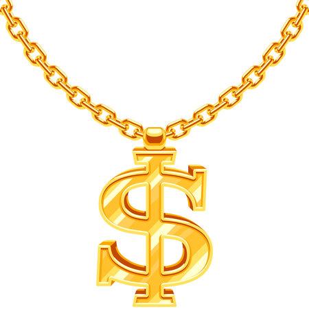 Gold dollar symbol on golden chain vector hip hop rap style necklace Vetores
