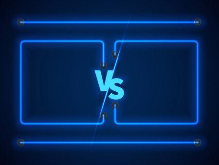 Versus screen with blue neon frames and vs letters. Stock vector Vecteurs