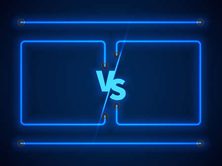 Versus screen with blue neon frames and vs letters. Stock vector