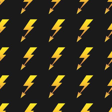 Yellow lightnings black vector seamless pattern