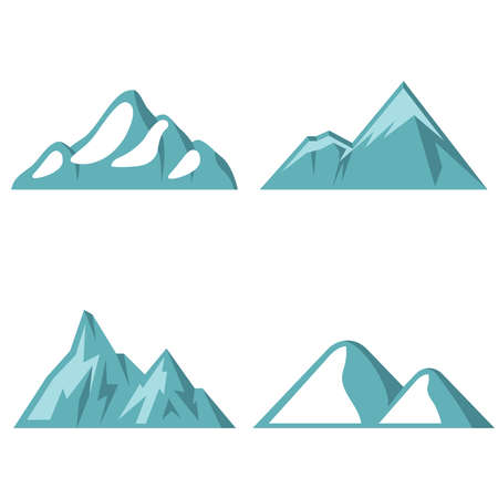 Blue mountain flat icons on white background Vectores