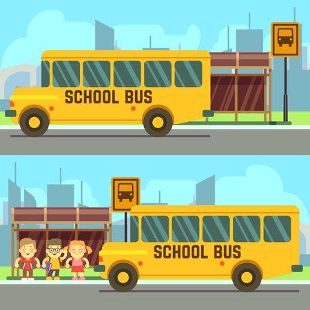 School pupils waiting for schoolbus