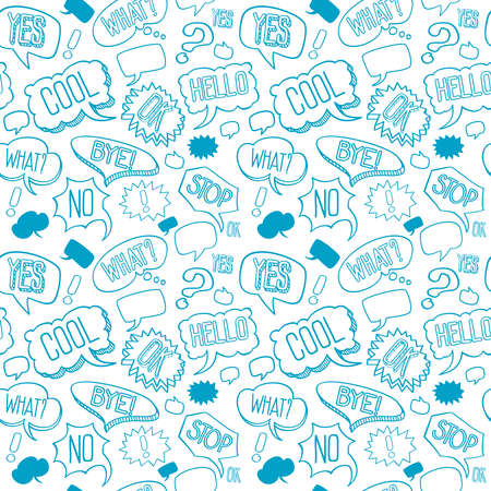 Vector doodle seamless pattern with speech bubbles Ilustracja