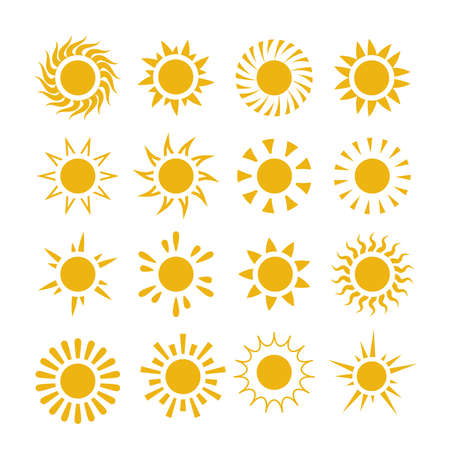 Yellow summer sun vector symbols Vectores