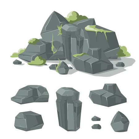 Stones and rocks cartoon vector nature boulder with grass moss