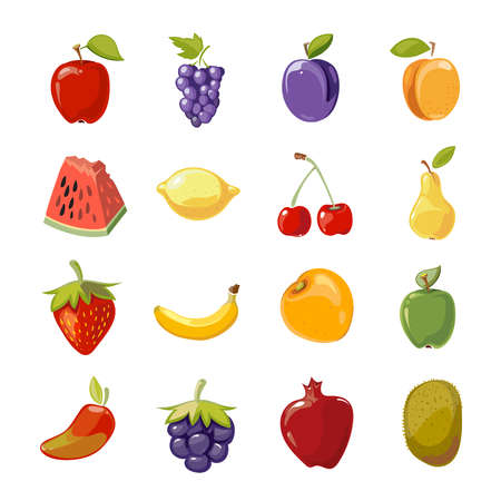 Fruit icons in cartoon style Ilustração