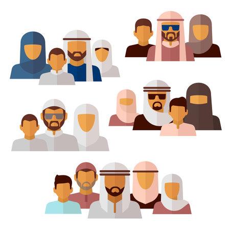 Arabian, muslim, middle eastern family icons Vektoros illusztráció