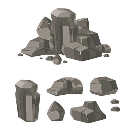 Cartoon rock boulder stone vector set