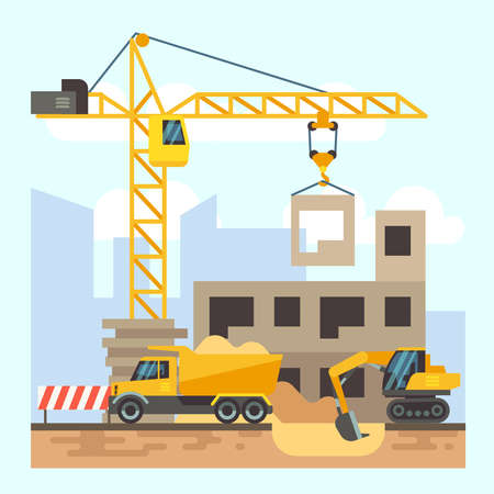 Building, house construction flat design concept with machines
