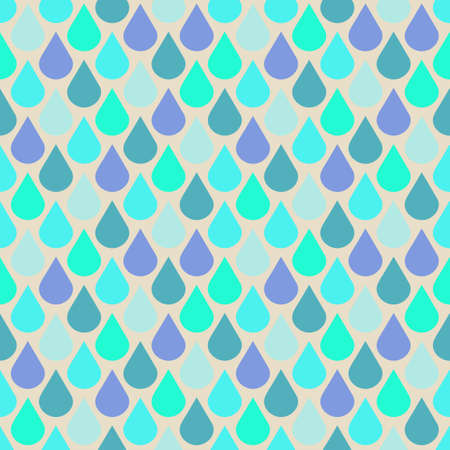 Teal and purple water drops seamless pattern Ilustração