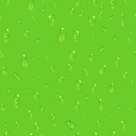 Green natural seamless background with water drops Ilustração