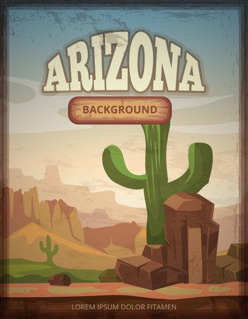 Arizona travel retro vector poster