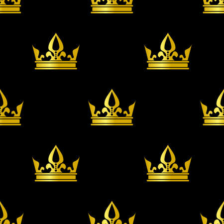 Golden crowns black vector seamless pattern Ilustracja