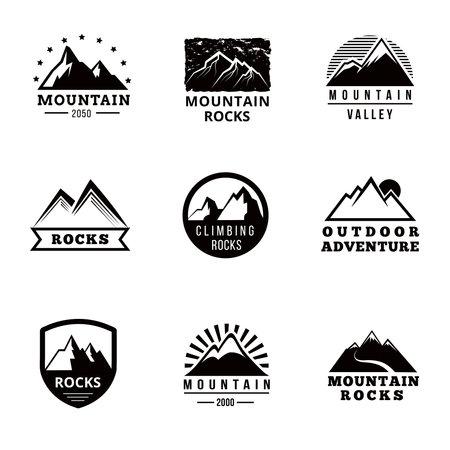 Mountains vector logo, badges and emblems set Illustration