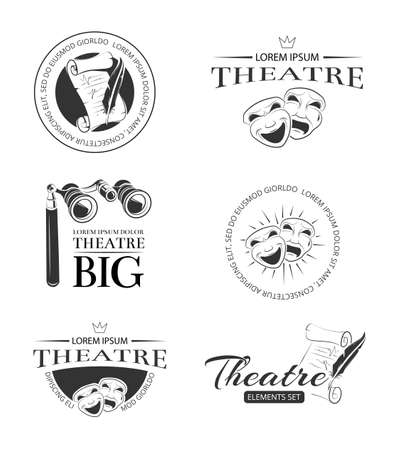 Theater acting entertainment performance vector retro labels, emblems, badges and logo