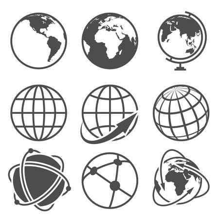 Globe earth vector icons set 向量圖像