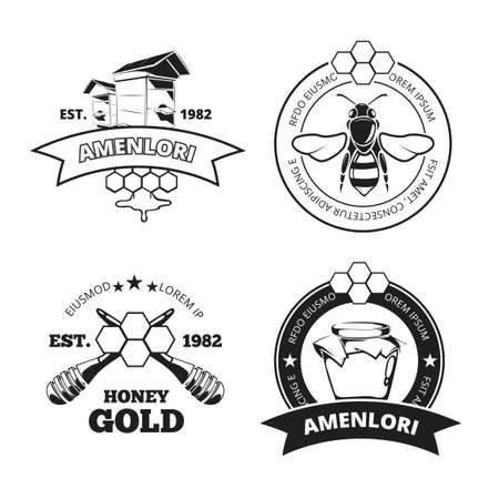 Retro beekeeper, honey vector emblems, logos in black isolated