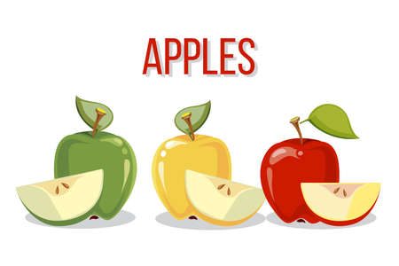 Three apples with slices isolated over white