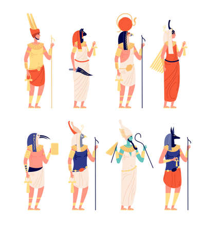 Egypt characters. Ancients egyptian god, old culture goddess. Osiris horus anubis statues, cartoon historical symbols utter vector collection Vettoriali
