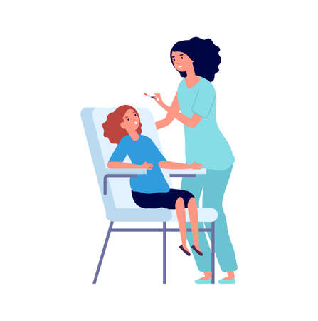 Vaccination time. Children vaccinate, doctor pediatric and little girl. Cartoon flat medical characters, healthcare and treatment vector illustration