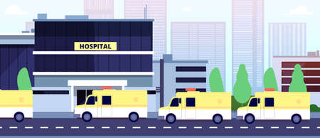 Ambulance queue at hospital building. Paramedics or reanimation, healthcare in pandemic time vector illustration