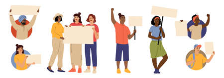 People with placards. Protesters avatars, women rights or feminism. Diverse multicultural characters hold blank posters vector set