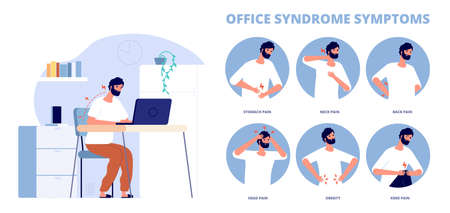 Office syndrome. Work pain infographic, symptoms of incorrect working position at computer. Back neck problems, headache obesity utter vector poster