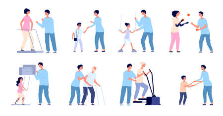Rehabilitation and therapy. Health exercising, wellness clinic after injury. Physiotherapist care, doctor and exercise equipment utter vector set Ilustrace