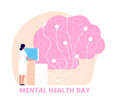 Mental health day. Healthcare, medical psychology poster. Doctor study human brain, mind care and research. Utter science vector background Ilustrace