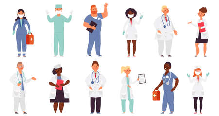 Doctor nurse characters. Medical nurses, health care flat male. Female doctors helping, hospital caring works. Decent medicine people vector set Ilustrace