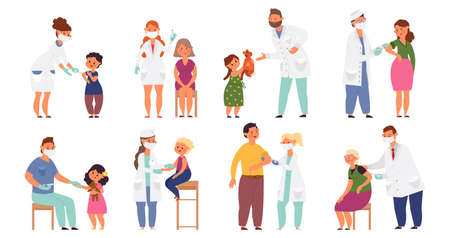People vaccination. Flat sick child, vaccinations from flu virus. Cartoon doctor, hospital worker and young pediatrician decent vector characters