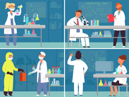 Medical laboratory characters. Lab work, medicines research equipment. Women working on drug development, decent chemical scientist vector concept