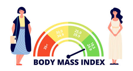 Body mass index. Obese woman, fit and fat lady and bmi range chart. Weight measuring, medical overweight infographic utter vector concept Vektorové ilustrace