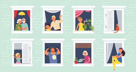 People in windows. Home open window, old person looking out from house. Apartment community, self safety time or lockdown decent vector concept 벡터 (일러스트)