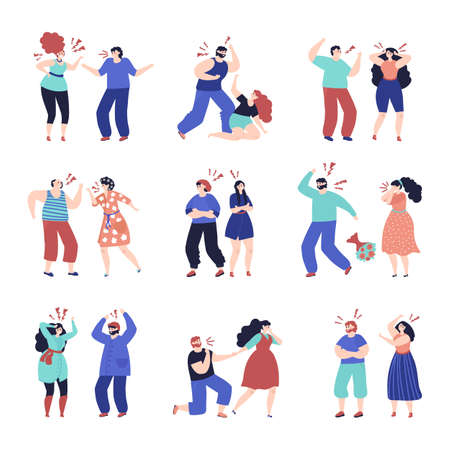 Family conflict. Disrespect people, quarrel brawl in couple. Angry woman man, domestic violence abuse or criticism in pair decent vector set