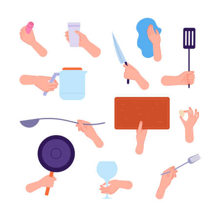 Hands hold kitchen tools. Woman hand holding knife, spoon fork and cutlery. People cooking, clean utensils in arms utter vector collection Vettoriali