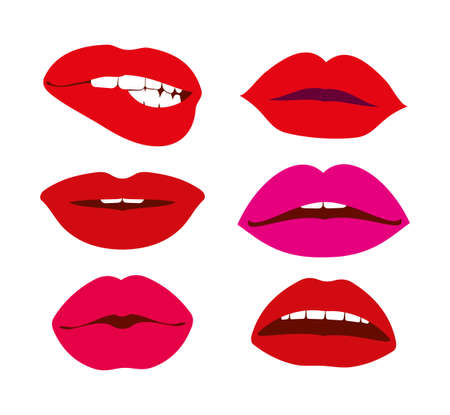 Woman lips vector icons. Set of female red lips illustration Ilustración de vector