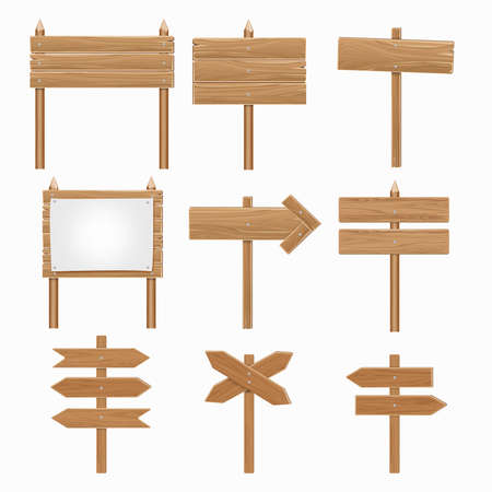Wooden signboards, wood arrow sign vector set. Directional plank in form arrow, billboard board and arrow signpost illustration