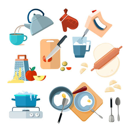 Kitchen cooking processes, grated vegetables, mixer, fried, dough, boil, grinding. Various actions to prepare meals vector, prepare lunch and breakfast illustration Vektorové ilustrace