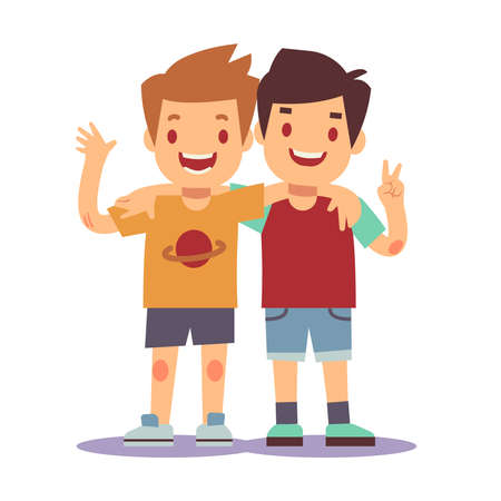 Two boys hugging, best friends, happy smiling kids vector illustration. Happy friends boys isolated on white backgorund