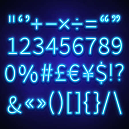 Glowing neon numbers, text symbols and currency signs vector typeset, font. Neon signs of currency dollar and euro, brackets neon and symbol percentage illustration Ilustración de vector
