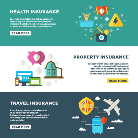Business insurance, banking services and safety vector banners set. Insurance banners, illustration of protection and insurance service concept