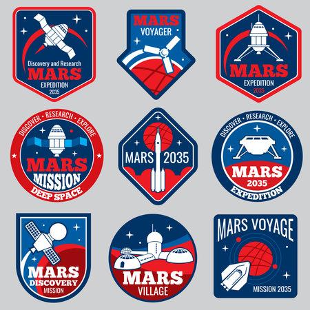 Mars colonization vector retro space logos and labels set. Exploration mars planet logo, emblem travel to mars illustration Logo