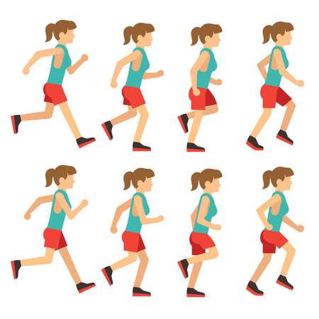 Running woman, female runner animation frame loop sequence. Animation of woman runner for game, young runner jogging. Vector illustration Vetores