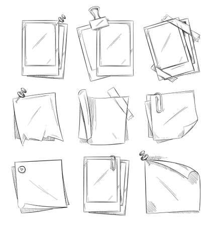 Blank vintage photo frames and notepaper doodle sketch vector collection.