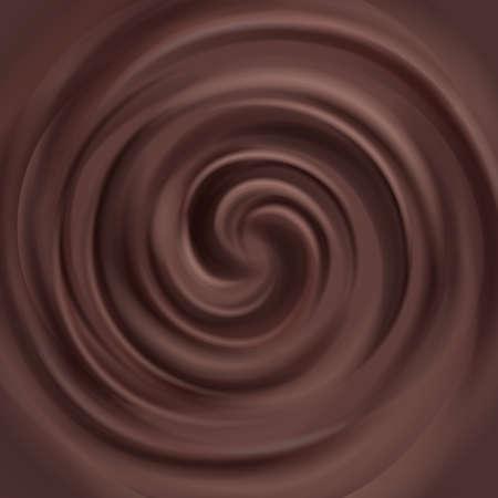 Liquid chocolate swirl vector background. Swirl milk chocolate, illustratin of brown chocolate cream Vektoros illusztráció