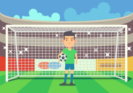 Soccer goalkeeper keeping goal on arena vector illustration. Football keeper in frame Vettoriali