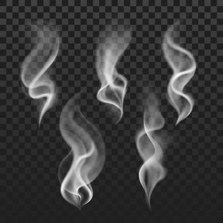 Transparent steam, cigarette smoke waves, fog texture vector set. Transparent smoke abstraction, illustration of template smoke isolated in checkered backdrop